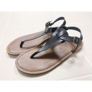 Mossimo Supply Co. Black Leather Sandals - 8